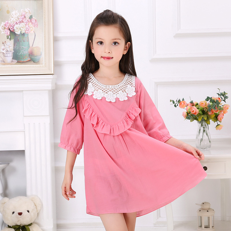 9548c9a222 2016 summer wear 100% cotton pajamas dress clothes Home Furnishing children  sleeping little girls Nightgown