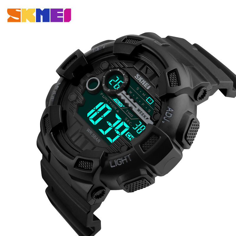 SKMEI Herre Sportsure 50M Vandtæt Back Light LED Digital Watch Chronograph Dobbelt Time Armbåndsure Relogio Masculino 1243