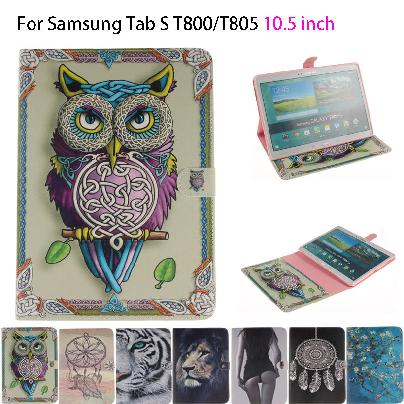 Tiger Owl Girls Painted Flip Silicone PU Leather Case For Samsung Galaxy Tab S 10.5 T800 T805 Case Cover tablet Funda Skin Shell tiger owl girls painted flip silicone leather case for samsung galaxy tab 4 8 0 t330 t331 t335 case cover tablet funda shell