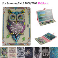 Tiger Owl Girls Painted Flip Silicone PU Leather Case For Samsung Galaxy Tab S 10 5