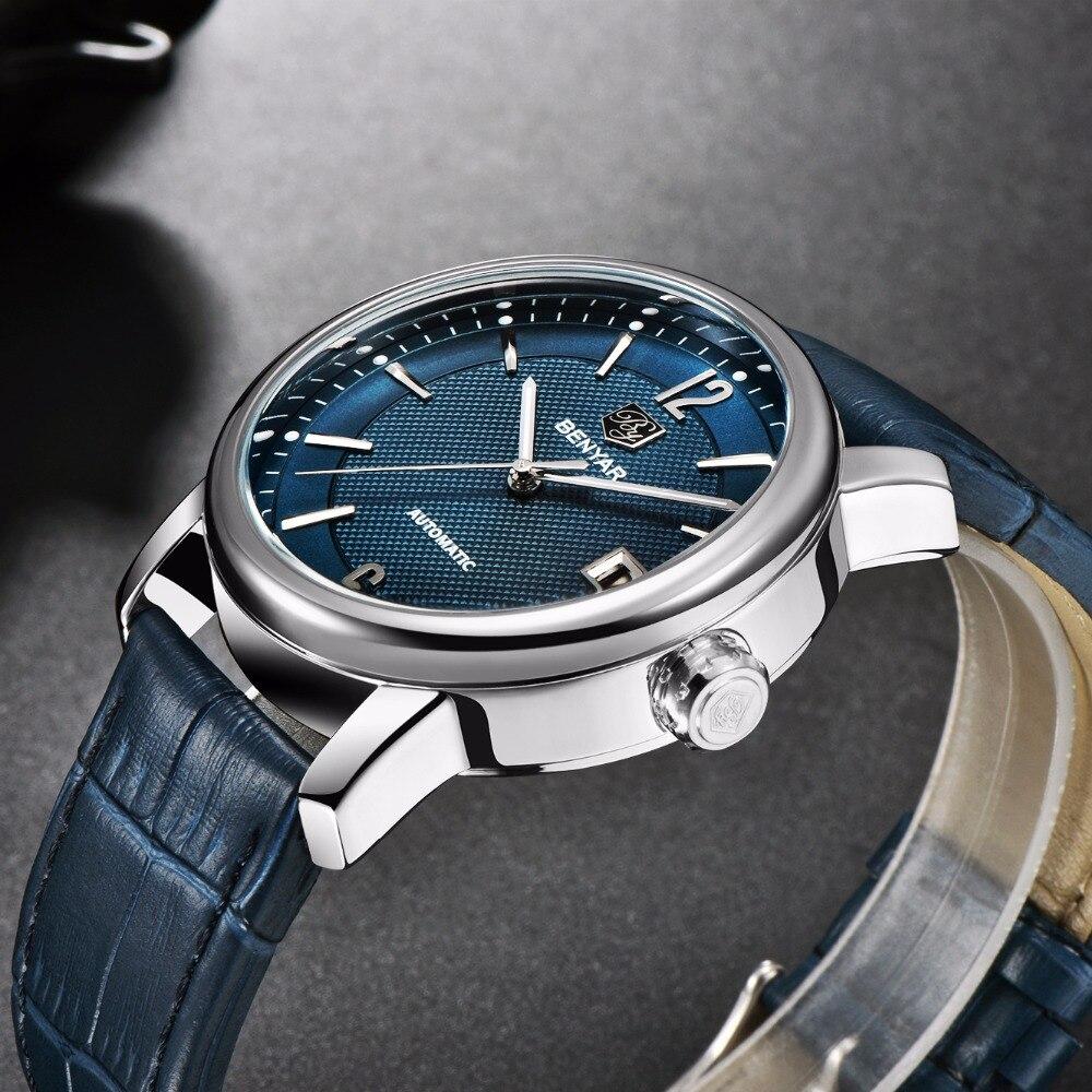 Relogio Masculino BENYAR 2018 New Fashion Top Luxury Brand Leather Watch Automatic Men Wristwatch Men Mechanical