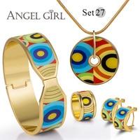 Angel Girl Fashion Vintage Set Series Enamel Shielded 18K Gold Plated Earring Bangle Necklace For Women