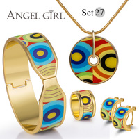 Angel Girl Fashion Vintage Set Series Enamel Shielded 18K Gold Plated Earring Bangle Necklace For Women