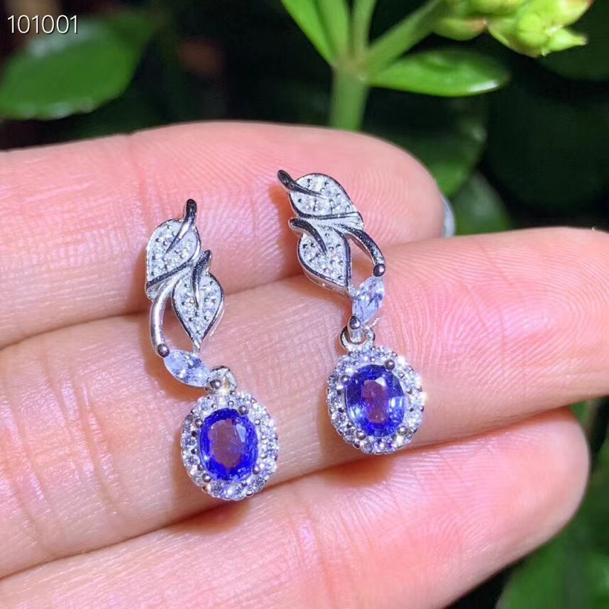 Natural and Real Sapphire earring Free shipping Jewelry Natural real sapphire earring 925 sterling silver Earring