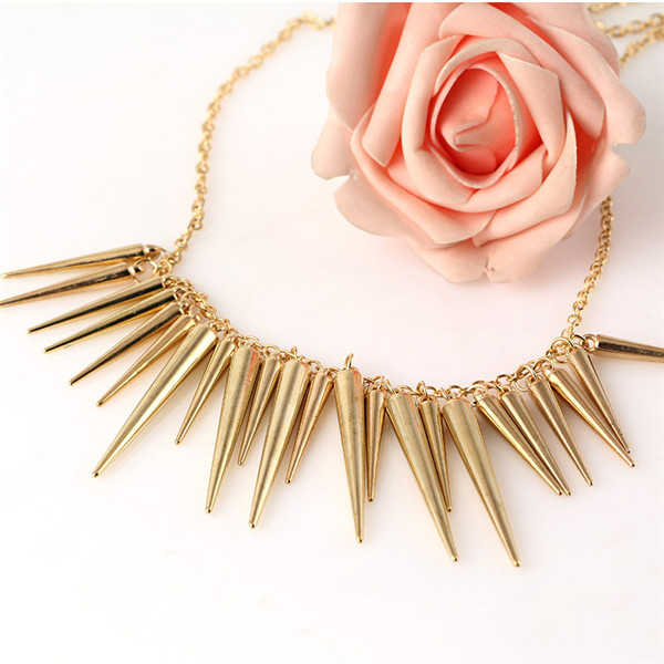 SHUANGR Festival Gift Steam punk Pendant Gold Silver-color Chain Spike Maxi Necklaces & Pendants For Women Statement Jewelry