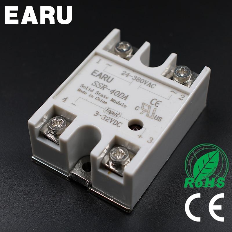 1PC SSR-40 DA SSR-40DA 40A SSR Relay input 3-32VDC output 24-380VAC for PID Temperature Controller Moudle Voltage Transformer