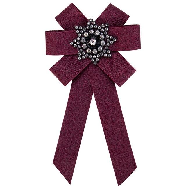 Платье рубашка лук Pin Броши Для женщин ручной работы галстук корсаж протяжки полотно ткани кристалл воротник бантом броши, ювелирные изделия