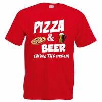 Drôle T Shirts Pas Cher Coton O-cou À Manches Courtes Chemises Pizza & Bière Alcool à Usage Alimentaire Nouveauté Lager Drôle Idée Pour hommes