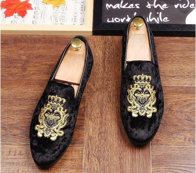 Conduite Style Pantoufles Hommes Nouveau Europe bleu Promotion Mariage Parti Chaussures Mocassins De Noir Printemps Velours Brodé Bleu Rouge ZqUwn6vU