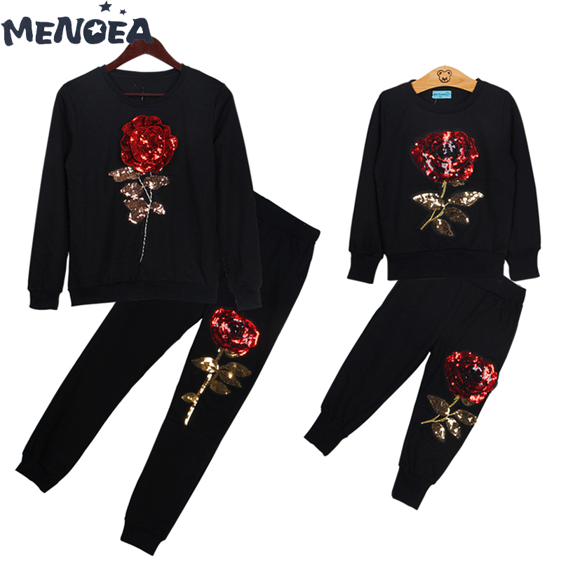 Menoea Family Matching Outfits Fashion New Spring Autumn Mother And Daughter Long Sleeve Rose Floral Sweatshirt+Pants 2Pcs Suit