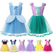 Summer Dress for Baby Costume Girls Princess Cinderella Ariel Aurora Snow White Rapunzel Anna Belle Dresses Kids Halloween Fancy