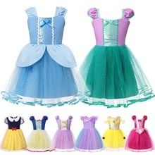 Summer Dress for Baby Costume Girls Princess Cinderella Ariel Aurora Snow White Rapunzel Anna Belle Dresses Kids Halloween Fancy цены онлайн