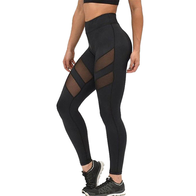 New Harajuku Fitness Leggings Women Mesh Splice Elastic Slim Legging Women's Plus Size Black Legins Women Sportswear Tayt Pants