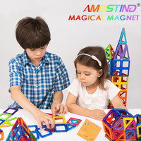 64PCS AMOSTING Magnetic Designer Construction Enlighten Assembly Building Blocks Toys Kids Educational DIY Plastic Technic Brick