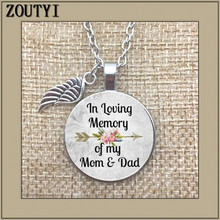 To commemorate my mom and dad, dads commemorative charm alloy glass pendant necklace