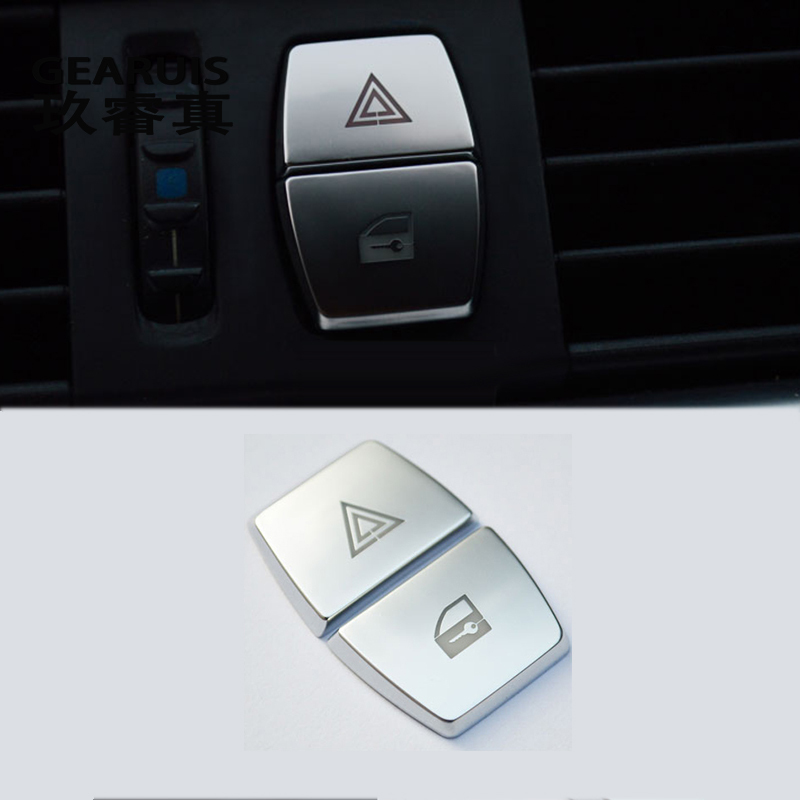 Car Interior Front Warning Light button Stickers Decorative Frame Cover Trim for BMW 5/6/7 series f10 GT F07 auto Accessories image