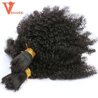 4B 4C Mongolian Afro Kinky Curly Bulk 2Pcs Human Hair For Braiding Braiding No Weft Hair
