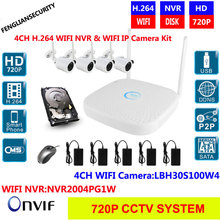 CCTV System 720P 4ch HD Wireless NVR kit Outdoor IR Night Vision 25M IR range wifi Camera Home Security System Surveillance