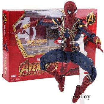 SHF Marvel Avengers Infinity Savaş Örümcek Adam Demir Örümcek Tamashii Sahne PVC Action Figure Koleksiyon Model Oyuncak