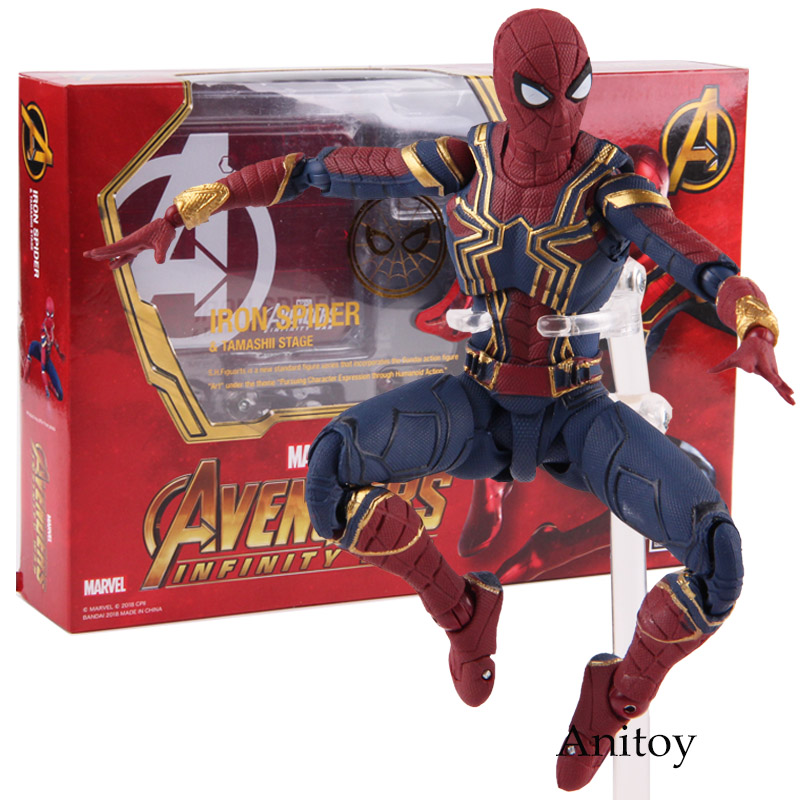SHF Marvel Avengers Infinity War Spiderman Iron Spider & Tamashii Stage PVC Action Figure Collectible Model Toy