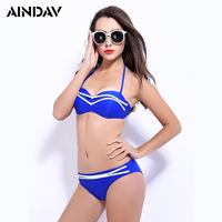 Nieuwe Listing Halter Top Sexy Bikini 2018 Effen Kleur Baden pak Zomer Strand Plus Size Push Up Badpak beugel Biquini