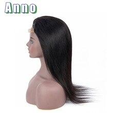 Anno волосы бразильские прямые кружевные передние человеческие волосы парики 10 «-22» парики с длинными волосами 4×4 размер кружева передние al Non Remy человеческие волосы парик
