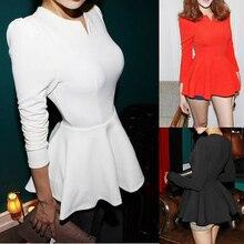 New Women Korean Fashion Sweet Peplum Frill Slim Fit Casual Clubwear Shirt Blouse Tops Plus Size S -Xl Fast Shipping plus size peplum slip blouse