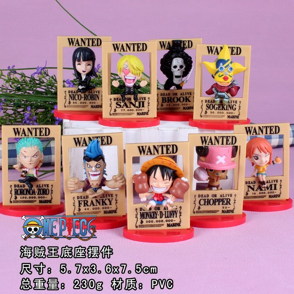 Anime One Piece Arrest warrant Luffy Frank Zoro Brook Robin Nami Sanji Chopper Usopp PVC Figures Toys 6cm 9pcs/set OPFG527 q version anime one piece film z frank sanji nami brook pvc action figure collection model toys dolls