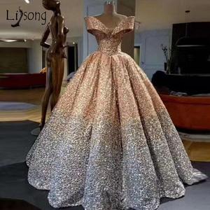 Image 2 - Lebanon Luxury Prom Gowns Shiny Mix Sequined Long Prom Dresses Empire Abiye Formal Dress Robe De Soiree 2018 Abendkleider