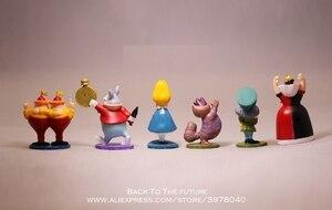 Image 2 - ديزني أليس في بلاد العجائب 6 قطعة/المجموعة 5 سنتيمتر عمل نموذج لجسم أنيمي البسيطة الديكور PVC جمع تمثال لعبة نموذج للأطفال