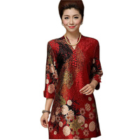 Women Summer 2016 Chinese Silk Dresses Plus Size 7XL Clothing Flowers Cheongsam Dress Red Middle Age