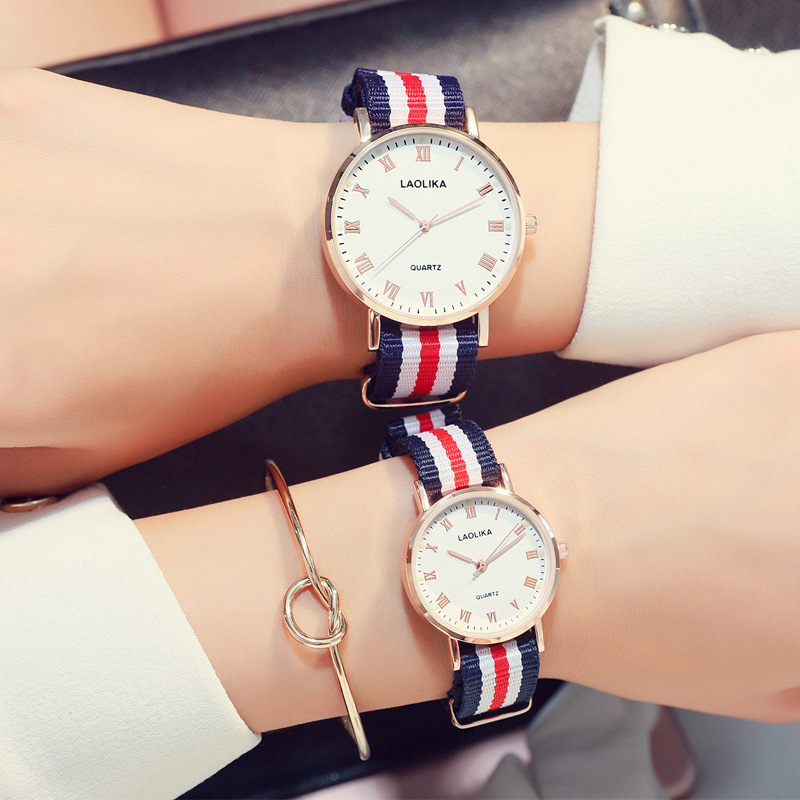 Chronograph Ultra-thin watch student fashion trend quartz canvas female lovers gifts for women Fashion Casual