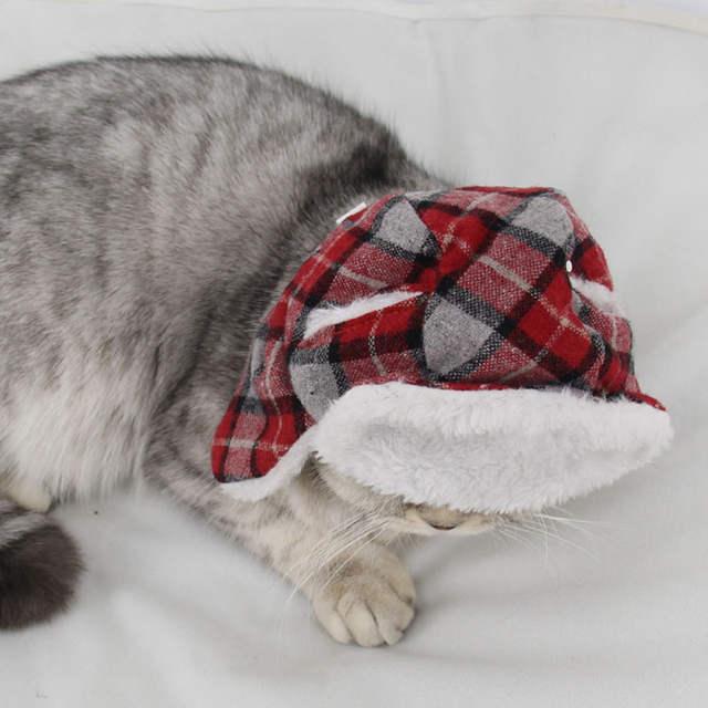 Us 359 49 Offwinter Wurm Flauschigen Einstellbare überprüft Streifen Weihnachten Kappe Haustier Katze Mutter Hund Welpen Haustier Hut Mit Band