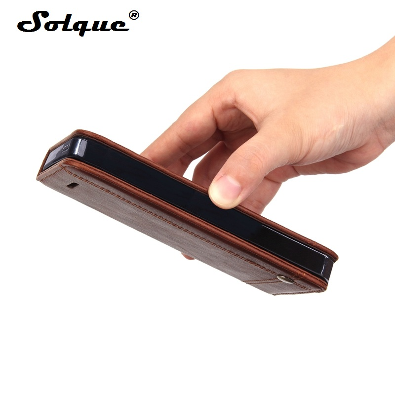 Solque Vintage PU Leather Flip Cover For iPhone X XS MAX XR 6 7 8 Plus 5 5S SE Luxury Magnetic Card Stand Wallet Book Phone Case