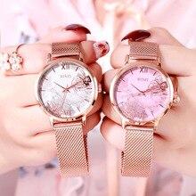 Fashion Flower Quartz Watch Women Luxury Ladies Rose Gold Steel Mesh Wristwatch Female Clock Gift Reloj Mujer Montre Femme 2019 цена в Москве и Питере