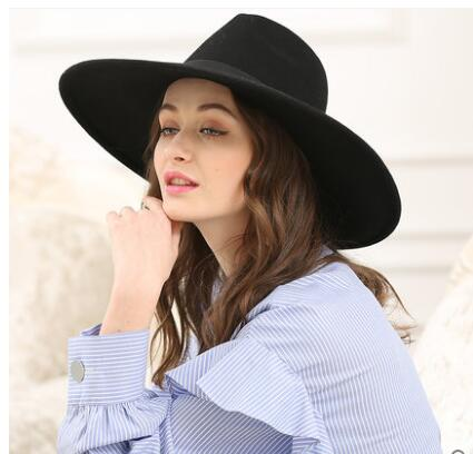 e60e40869eb Super Big Stiff Brim Fedora Hat Black Khaki Women Bow Jazz Hat Australian  Wool Felt Casual