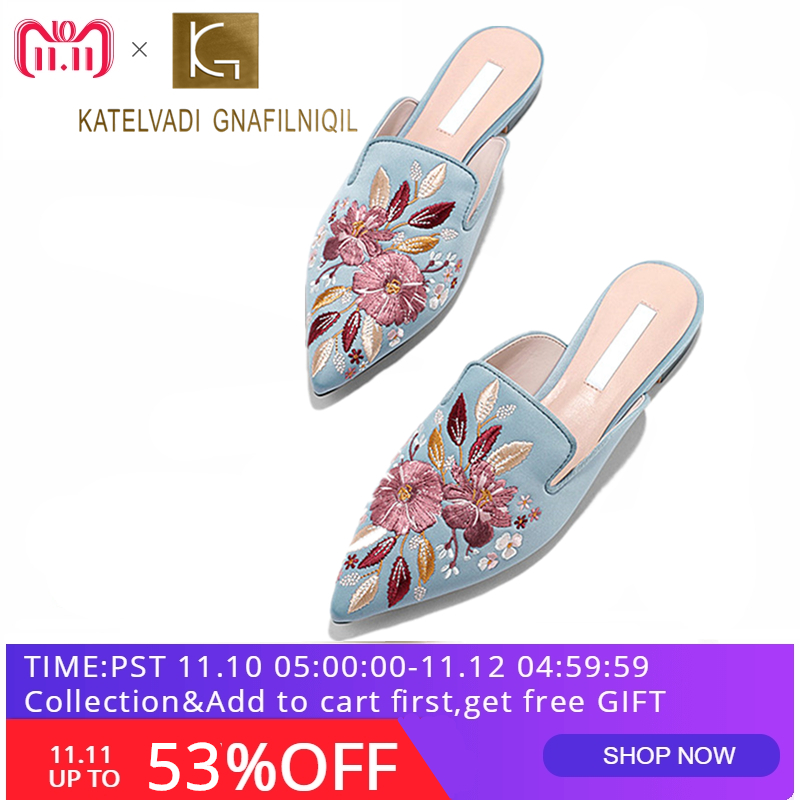 Luxury Embroidered Flats Mules Lady Slippers Blue Satin Slip On Pointed Toe Women Mules Outdoor Slipper Shoes Woman Slides K-148 все цены