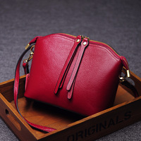 Мини голову Слои кожа Сумка Пояса из натуральной кожи Для женщин плеча сумочку двойная молния небольшой портативный сумка через плечо
