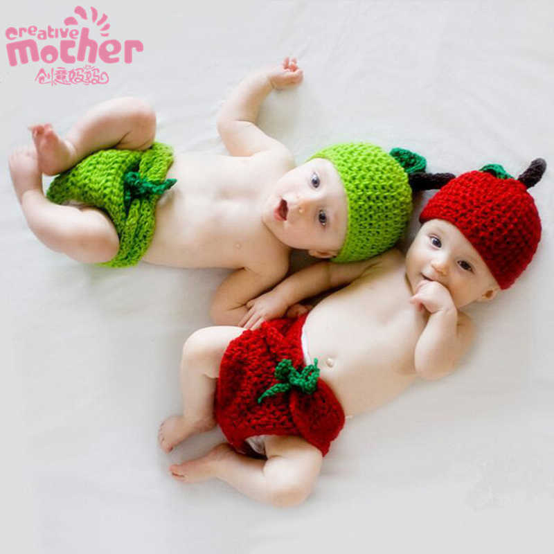 2d3fc3447b30 ... Newborn Photography Props Infant Costume Crochet Cute Baby Hat Costume  Set Kids Clothing Accessories for Twins ...