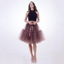bca044c6f8 Falda de tul de color marrón con volantes de malla Midi para adultos Sexy  Clubwear faldas