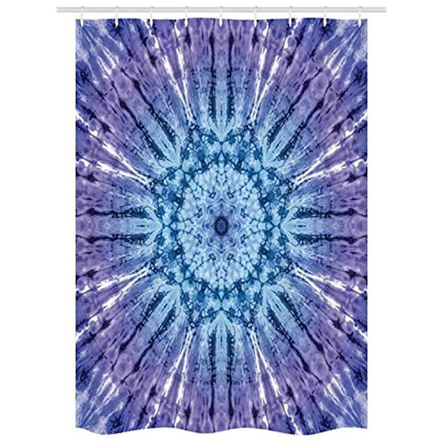 Vixm Tie Dye Shower Curtain Original Circle Mandala Motif Centered Vibrant  Spectral Color Motion Graphic Fabric