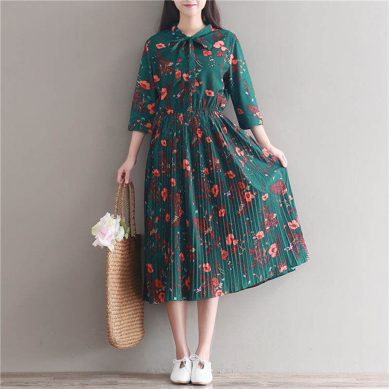 Mori Girl Style Vintage Retro Green Floral Long Dress 2017 New Spring and Summer Women Pleated Chiffon Dresses
