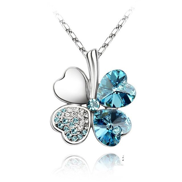 Hot sell fashion style Four Clover crystal pendant Necklace Free Shipping