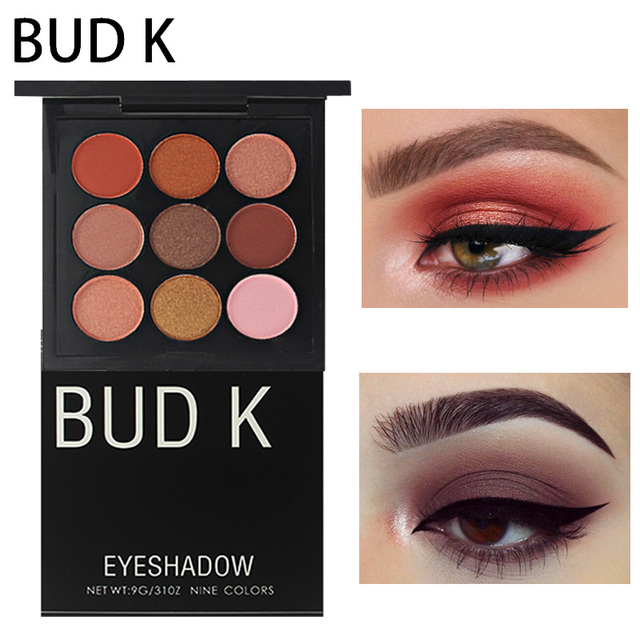 Makeup 2018 Pigment Brown Eye Shadow Make Up Palette Waterproof 9 Color Shimmer Eyeshadow Matte