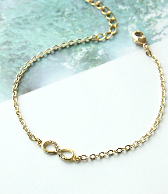 Min 1PC Famous Brand Gold Tiny Infinity Bracelet Bridesmaid Gift Friendship Bracelet  Wedding Bracelet Friendship Jewelry ab14011d9e43