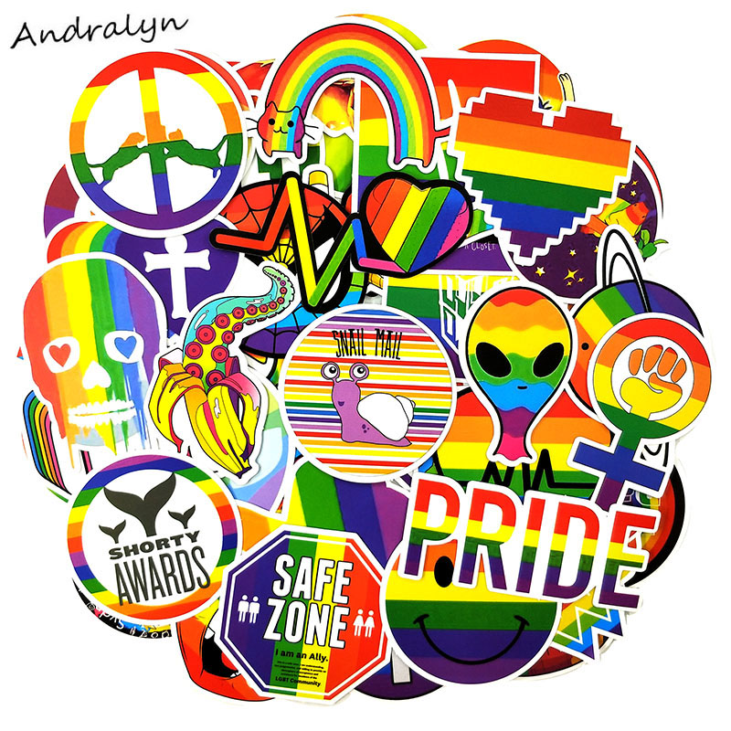 50 Pcs/pack Tide Brand Rainbow Color Graffiti Series Stickers For Suitcase Luggage Motorcycle Laptop Skateboard Phone Stickers
