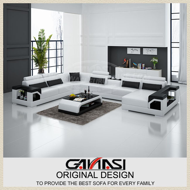 Modern sofa set living room furniture black leather Living room furniture for sale in dubai