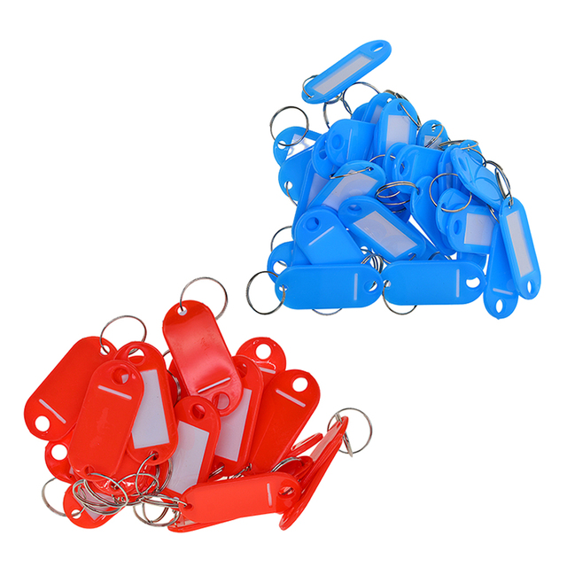 US $11 65 |100x Waterproof Plastic Key Fobs Id Tags Labels Key Rings For  Estate Agent Landlords And Tenants Red + Blue-in Home Office Storage from