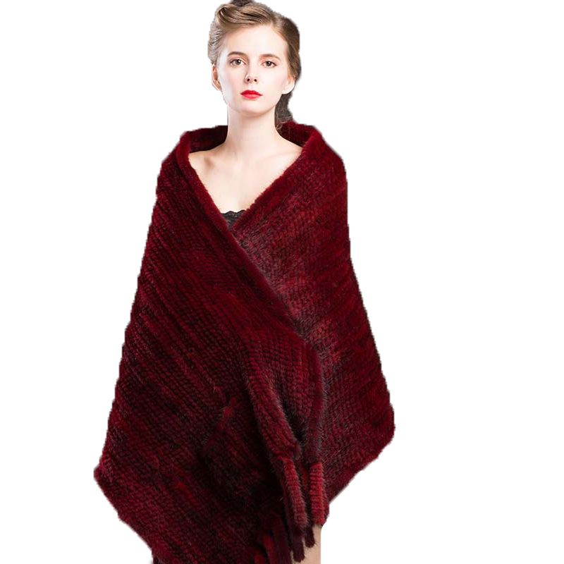 Shawl Women's Winter Real Mink Fur Female   Scarves     Wraps   Lady Cape Fashion Wine Red Warm