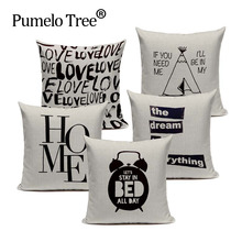 Creative Black White Letter Cushion Cover Decorative Pillows For Sofa Car Home Woven Linen Pillow Cover